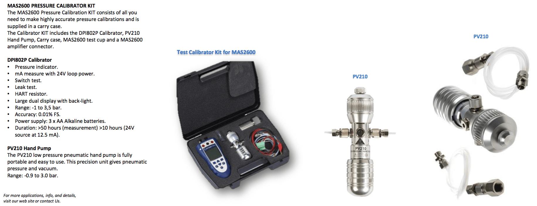 DPI802P MAS2600 Calibration Kit